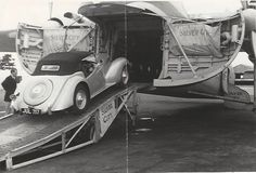 A 1948 Lea Francis 14hp Sports being loaded aboard a Bristol 170 Freighter (circa 1952)