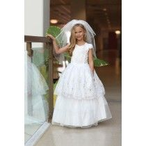 """Two Spanish First Communion Dresses in one – wear it long to the First Holy Communion Ceremony & take off the ruffle underskirt for a knee length style . This Mexican First Communion Dress features embroidered """"Our Lady of Guadalupe"""" on bodice Girls First Communion Dresses, Holy Communion Dresses, Size 14 Dresses, Dresses For Sale, Mexican Dresses, Our Girl, Our Lady, Size 12, White Dress"""