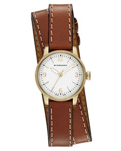 30mm+Utilitarian+Double-Wrap+Watch,+Golden/Tan+by+Burberry+at+Neiman+Marcus+Last+Call.