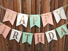 Peach Mint Birthday Banner Happy Birthday 1st Birthday Mint