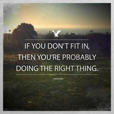 If you don't fit in, then you're probably doing the right thing.