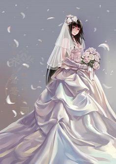 Tags: Anime, Wedding, Wedding Dress, White Flower, Xiamianliele, Long Gloves