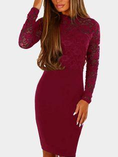 Burgundy Lace Detail Crew Neck Long Sleeves Bodycon Dress #bodycondresslongsleeve