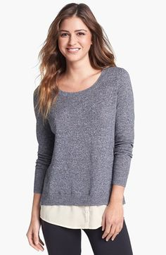 Kensie Mock Layer Crewneck Sweater perfect with leggings and boots for fall