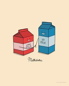 Milkshake Art Print, part of my series of cute, punny doodles.  Visual pun.