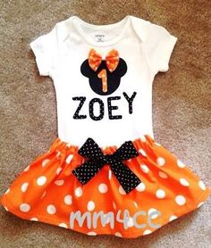 minnie mouse outfit dress first halloween birthday party orange skirt bodysuit disney baby girl personalized 3 6 9 12 18 24 m 5 - Halloween Birthday Party