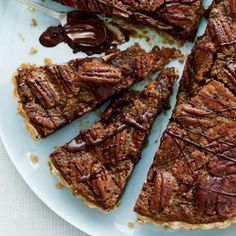Bourbon-Pecan tart drizzled with chocolate