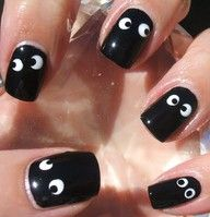 Instead of painting on the eyes I would use stick on googly eyes.  Love this idea for Halloween!