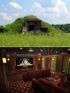 Nuclear Fallout Shelter Home. Featuring a private movie theater, kitchen, sauna, home office, and even a library. It's a Hobbit hole! Nuclear Fallout Shelter, Bomb Shelter, Underground Bunker, Survival Shelter, Home Theater Design, Natural Building, Earthship, Just In Case, Funny Memes