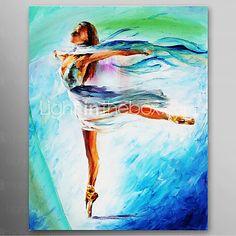 Pintado a mano de pintura al óleo Gente El Ballet Girl Dance con marco se extendía listo para colgar - USD $59.99