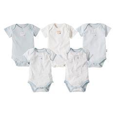 Burts Bees Baby Newborn Boys' 5 Pack Short-sleeve Bodysuit - Sky Blue