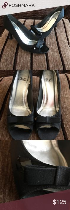 Stuart Weitzman satin black jeweled bow heels peep Stunning Stuart Weitzman satin peep toe heels feature gorgeous black jewels and are in excellent like new condition. These were worn only once for a celebrity function. Real beauties at a steal! Stuart Weitzman Shoes Heels