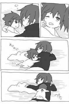 :3 Baby Sasuke wants to cuddle with his brother! #naruto #itachi #sasuke: