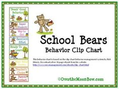 This adorable, bear themed behavior chart is based on the clip chart behavior management system by Rick Morris.