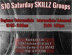 Register now! $10 Saturday SKILLZ Groups: Beginner/Intermediate 10am-11:00 & Intermediate/Advanced 12:00-1pm, http://www.rockballlab.com