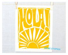 11x14  HOLA Spanish Hello Typography Kitchen by RawArtLetterpress
