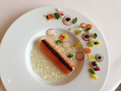 Enjoy the flavours of spring with this appetiser from Caprice! Langoustine Cannelloni with Marinated Salmon, Chilled Lemongrass Jelly and Sologne Caviar.