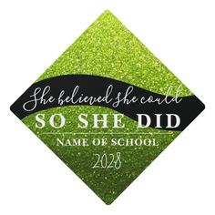 She Believed She Could Black Green Glitter Sparkle Graduation Cap Topper #she #believed #she #could #feminist #GraduationCapTopper Graduation Cap Toppers, She Believed She Could, Green Glitter, Olive Green, Make It Yourself, Unisex, Dark, Yellow, Sparkles