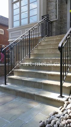 Exterior Railings & Handrails for Stairs, Porches, Decks Exterior Stair Railing, Wrought Iron Stair Railing, Iron Railings, Stair Handrail, Front Porch Deck, Front Porch Railings, Outside Stairs, Driveway Design, Outdoor Flooring