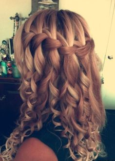 Waterfall Braid For Long Curly Hair This spectacular style is definitely one to wear for any special occasion where you want to be the belle of the ball! The hair is expertly highlighted with several carefully blended shades of blonde and light golden brown for an ultra-trendy look.  The contemporary horizontal braid moves from the …