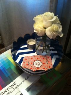 Jayes painted tray - I have a couple trays from Jayes and I just love them. My mom just purchased several beach themed trays and tubs for everything from beach towels to flip flops to mail.