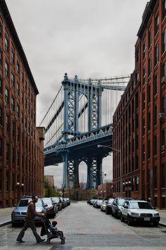 Manhattan Bridge, NYC...I wanna walk down this very street with a starbucks in my hand...