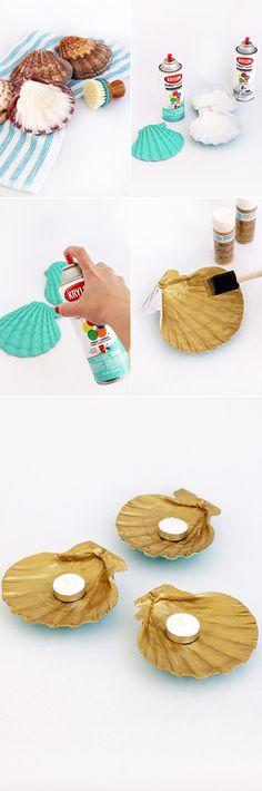 DIY Gilded Seashell Candle Holders