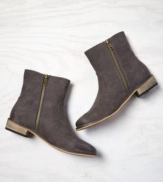 Grey Side Zip Bootie