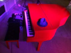 My own portable red baby grand piano at Isla Gladstone, Liverpool, UK (Oct 2016)