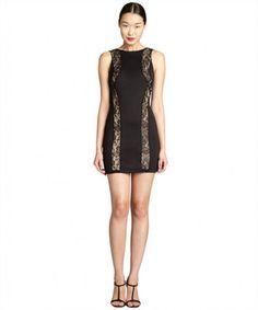 Wyatt black stretch jersey and lace panel dress on WearsPress