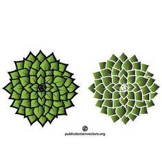 Green floral element vector image
