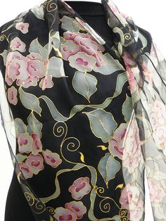 50fd9de0893 Pintura em Seda Pura por Angela Anita Cantele. Chiffon Black silk scarf  HANDPAINTED long Pink flowers gray