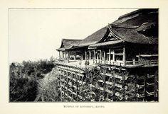 1904 Print Temple Kiyomizu-dera Japan Buddhist Balcony Kyoto Historic XGAE5