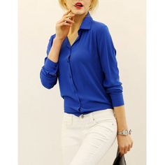 Solid Color Single-Breasted Long Sleeve Shirt Collar Women's ShirtBlouses | RoseGal.com