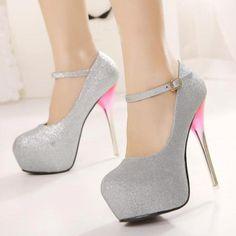 Shiny Silver PU Round Closed Toe Stiletto Super High Heel Ankle Strap Pumps