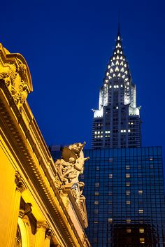 Grand Central Station and the Chrysler Building at Dusk, New York, USA. by Brian Jannsen