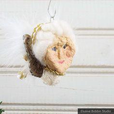 Items similar to OOAK Apple Head Christmas Angel Ornament on Etsy Apple Head Dolls, Apple Dolls, Real Granny, Christmas Angel Ornaments, Sheep Wool, Mother Nature, Her Hair, Art Dolls, Carving
