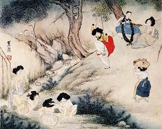 """korean-art: """" """" A Scenery on Dano Day 1805 (?) Shin Yunbok (otherwise known as Hyewon) """" Currently held in the Gansong Art Museum. This is National Treasure Dano (단오) is a traditional Korean holiday on the day of the month of the lunar. Korean Painting, Japanese Painting, Japanese Art, Retro Kunst, Retro Art, Korean Art, Asian Art, Korean Traditional, Traditional Art"""