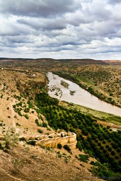 Oum Er-Rabia River from the Kasbah de Boulaouane, Doukkala-Abda_ Morocco | Oum Er-Rabia (Arabic: أم الربيع‎, the mother of spring), is a river in central Morocco. The river is 555 km long and is the longest in the country. With an average water debit of 105 m3/s, Oum Er-Rabia is the second largest river in Morocco after the Sebou River.