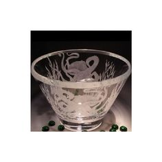 Octopus Bowl | Etched Crystal | Evergreen Crystal