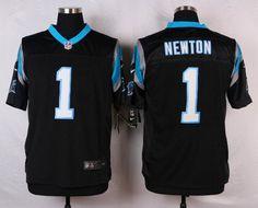 Mens Nike Carolina Panthers 1 Cam Newton Elite Black Jersey