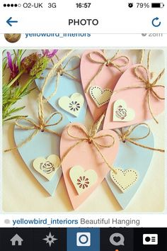 Pink & Blue hanging hearts perfect for babies rooms - just £3.50 each xx