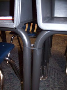 Zip Ties on desks to keep them together- Great Idea!!