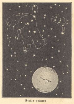 Ursa Major, Ursa Minor, Polar Star. from Notions de géographie (~1910) #stars #constellations #sky #French