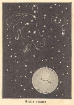 Ursa Major, Ursa Minor, Polar Star.  from Notions de géographie (~1910)  #stars  #constellations  #sky #French