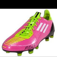 pink and green adidas soccer cleats