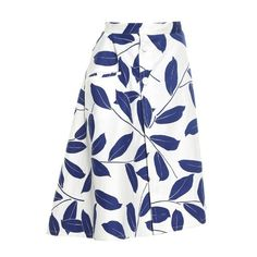 Marni Leaf-print midi skirt (6 585 ZAR) ❤ liked on Polyvore featuring skirts, bottoms, blue white, flared midi skirt, marni skirt, button skirt, floral print midi skirt and flared skirt