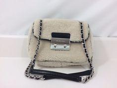 Michael Kors White Black Shearling Sloan Shoulder Bag Chain Purse 730/16 #MichaelKors #ShoulderBag