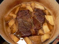 Dutch Oven Pot Roast   How To Cook Like Your Grandmother - Love my new porcelain/cast iron dutch oven. Love that this takes about two hours, rather than all day in the slow cooker. I also love being able to sear and braise in ONE pot.
