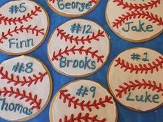 baseball cookies-For Emmy for Griffin...but maybe hockey pucks!